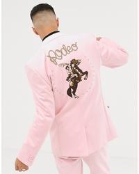 Blazer de ante bordado rosado de ASOS DESIGN