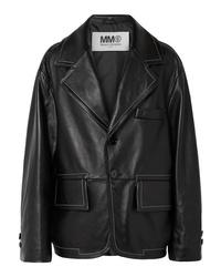 Blazer de cuero negro de MM6 MAISON MARGIELA