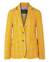 Blazer de lana a cuadros amarillo de Etro