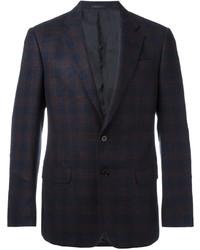 Blazer de lana a cuadros azul marino de Armani Collezioni