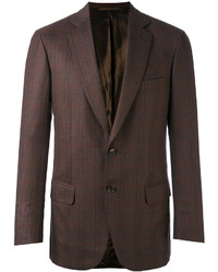 Blazer de lana a cuadros en marrón oscuro de Brioni