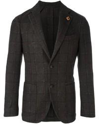 Blazer de lana a cuadros en marrón oscuro de Lardini