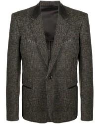 Blazer de lana a cuadros en marrón oscuro de Lemaire