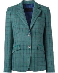 Blazer de lana a cuadros en verde azulado
