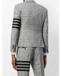Blazer de lana a cuadros gris de Thom Browne