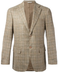 Blazer de lana a cuadros marrón claro