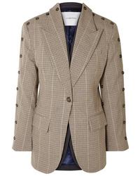Blazer de lana a cuadros marrón claro de PushBUTTON