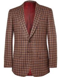 Blazer de lana a cuadros marrón