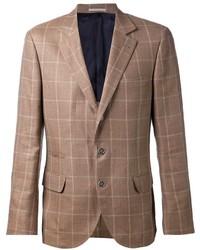 Blazer de lana a cuadros marrón de Brunello Cucinelli