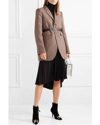 Blazer de lana a cuadros marrón de Balenciaga