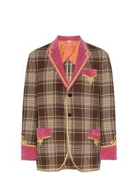 Blazer de lana a cuadros marrón de Gucci