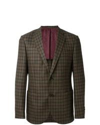 Blazer de lana a cuadros verde oliva de Fashion Clinic Timeless