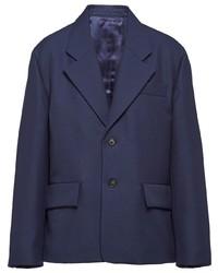 Blazer de lana azul marino de Prada