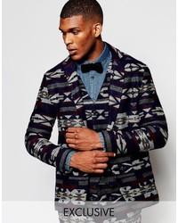 Blazer de lana con estampado geométrico azul marino de Reclaimed Vintage