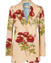 Blazer de lana con print de flores marrón claro de Gucci