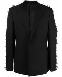 Blazer de lana con tachuelas negro de Givenchy
