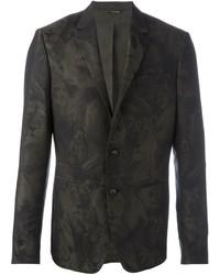Blazer de lana de camuflaje verde oscuro