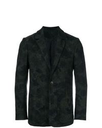 Blazer de lana de camuflaje verde oscuro de Henrik Vibskov