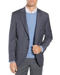 Blazer de lana de cuadro vichy azul marino