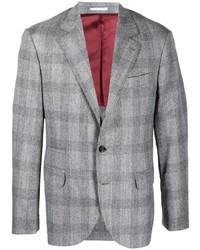 Blazer de lana de cuadro vichy gris de Brunello Cucinelli