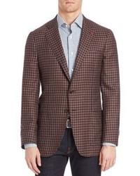 Blazer de lana de cuadro vichy marrón