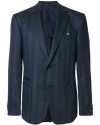 Blazer de lana de espiguilla azul marino de Z Zegna