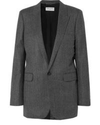 Blazer de lana de espiguilla en gris oscuro de Saint Laurent