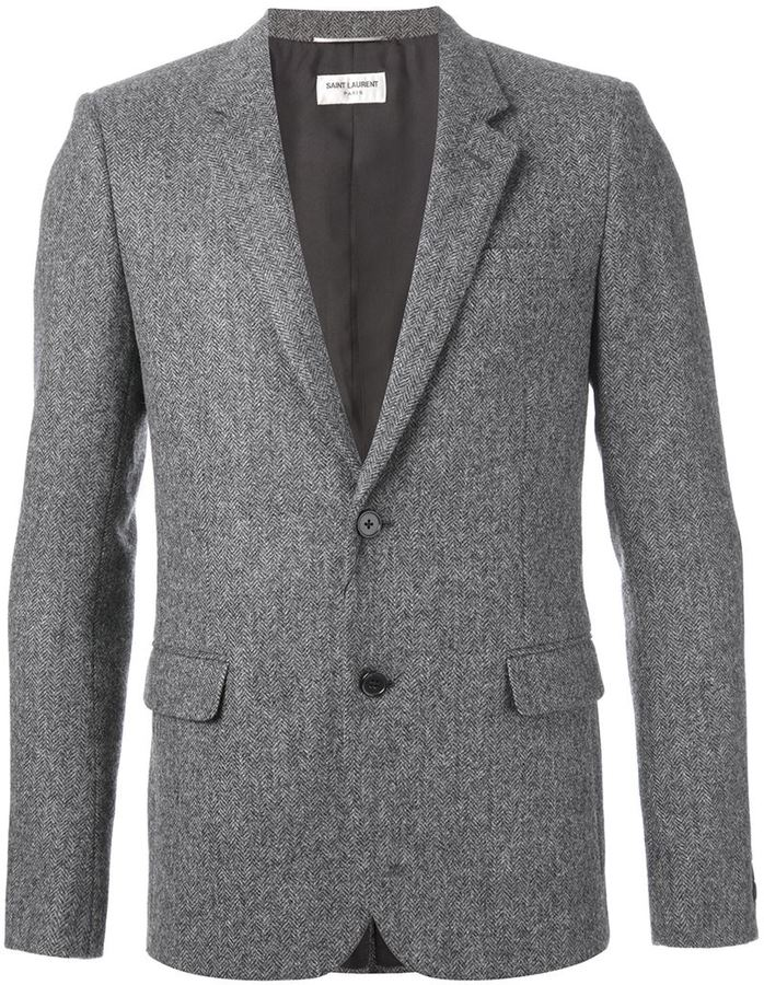 Blazer de lana de espiguilla gris de Saint Laurent