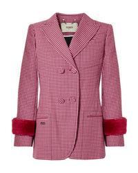Blazer de lana de pata de gallo rosa de Fendi