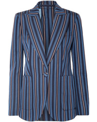 Blazer de lana de rayas verticales azul marino de Burberry