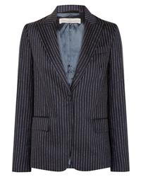 Blazer de lana de rayas verticales azul marino de Golden Goose Deluxe Brand