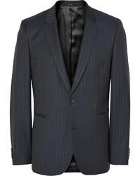 Blazer de lana de rayas verticales azul marino de Paul Smith