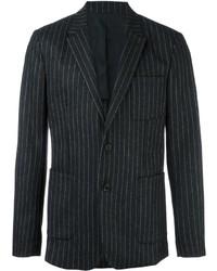 Blazer de lana de rayas verticales en gris oscuro de AMI Alexandre Mattiussi