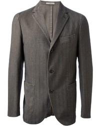Blazer de lana de rayas verticales en gris oscuro de Boglioli