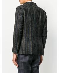 Blazer de lana de rayas verticales en marrón oscuro de Tagliatore