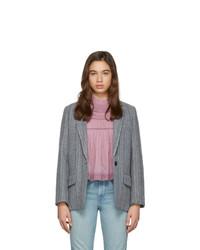 Blazer de lana de rayas verticales gris de Isabel Marant Etoile