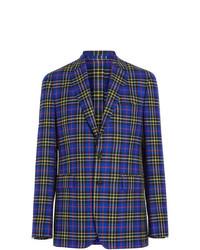 Blazer de lana de tartán azul de Burberry