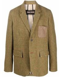 Blazer de lana de tartán marrón claro de Uma Wang