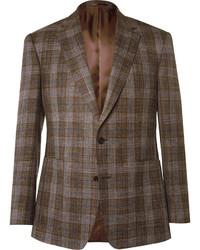 Blazer de lana de tartán marrón