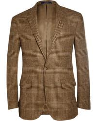 Blazer de lana de tartán marrón de Polo Ralph Lauren