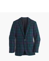 Blazer de lana de tartán verde oscuro