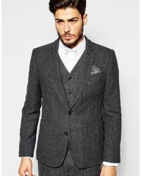 Blazer de lana en gris oscuro de Asos
