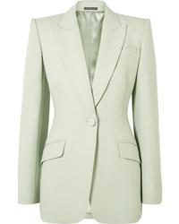Blazer de lana en verde menta de Alexander McQueen