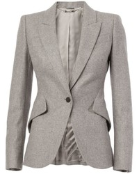 Blazer de lana gris de Alexander McQueen