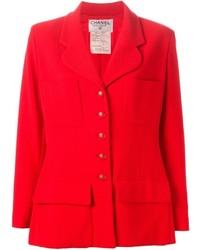 Blazer de lana rojo de Chanel