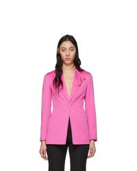 Blazer de lana rosa de Versace