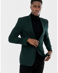 Blazer de lana verde oscuro de ASOS DESIGN
