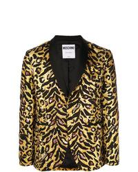 Blazer de leopardo dorado de Moschino