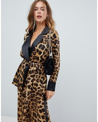 Blazer de leopardo marrón claro de Missguided