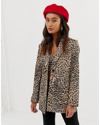 Blazer de leopardo marrón claro de Sacred Hawk